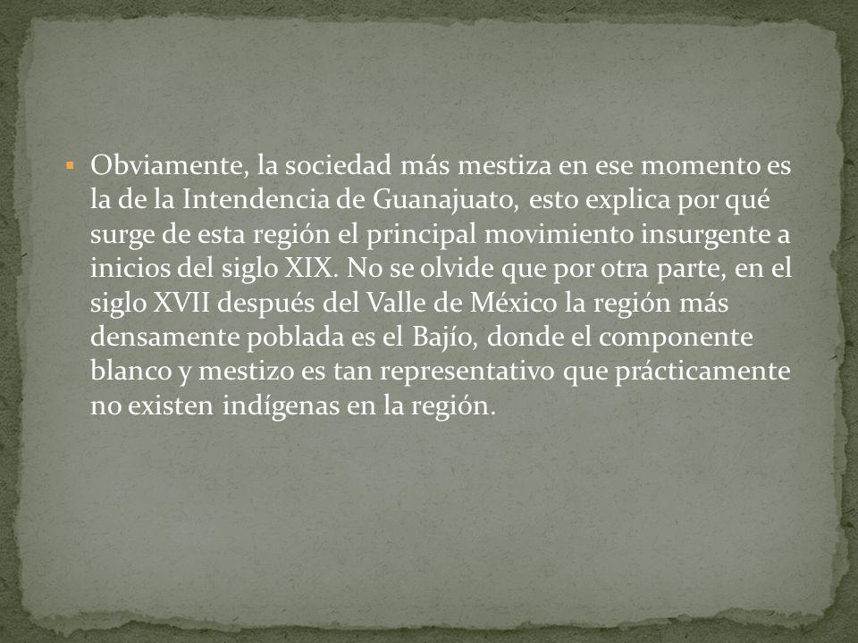 Obviamente, la sociedad más mestiza en ese momento es la de la Intendencia de Guanajuato, esto explica por qué surge de esta región el principal movim
