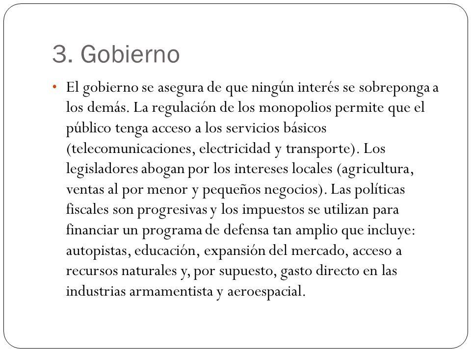 3. Gobierno El gobierno se asegura de que ningún interés se sobreponga a los demás.
