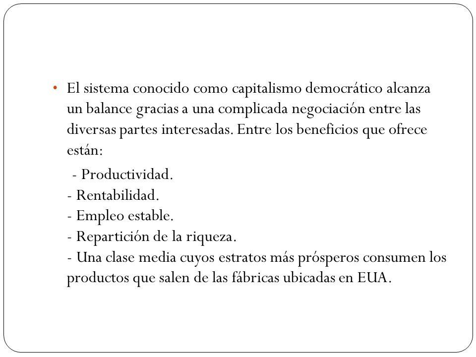 El sistema conocido como capitalismo democrático alcanza un balance gracias a una complicada negociación entre las diversas partes interesadas.