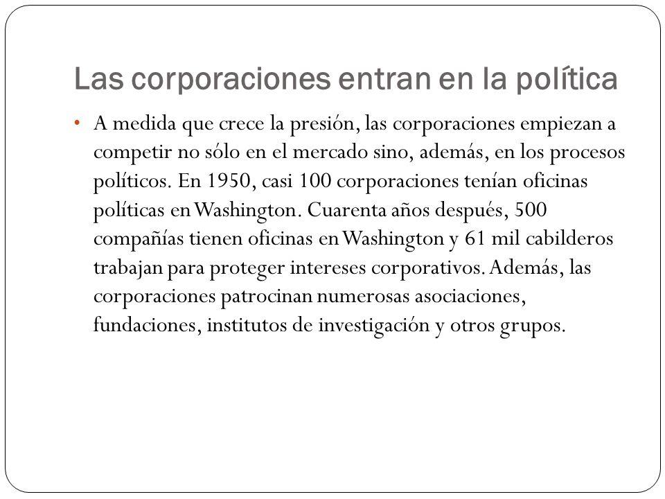 Las corporaciones entran en la política A medida que crece la presión, las corporaciones empiezan a competir no sólo en el mercado sino, además, en los procesos políticos.
