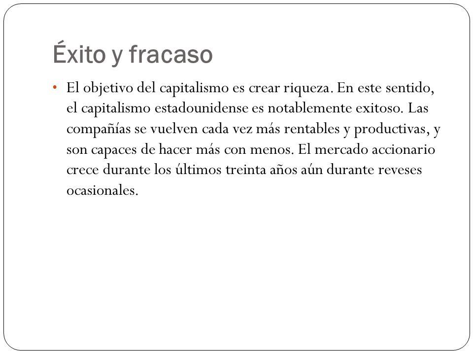Éxito y fracaso El objetivo del capitalismo es crear riqueza.