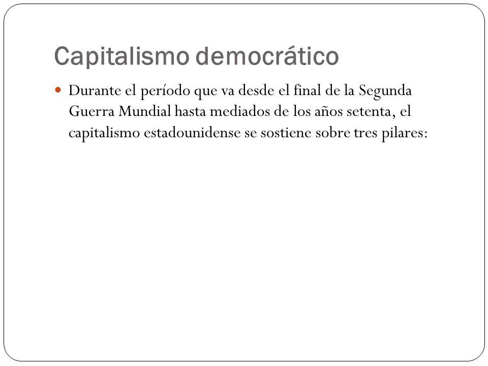 Capitalismo democrático Durante el período que va desde el final de la Segunda Guerra Mundial hasta mediados de los años setenta, el capitalismo estadounidense se sostiene sobre tres pilares: