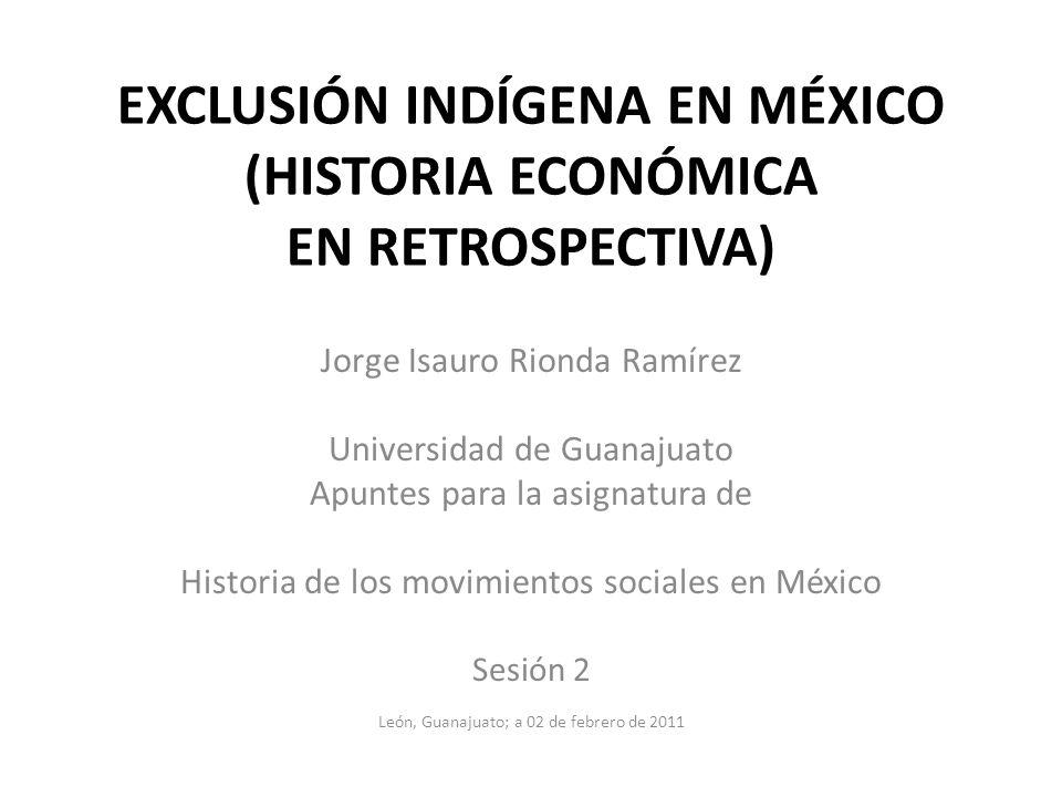 EXCLUSIÓN INDÍGENA EN MÉXICO (HISTORIA ECONÓMICA EN RETROSPECTIVA) Jorge Isauro Rionda Ramírez Universidad de Guanajuato Apuntes para la asignatura de