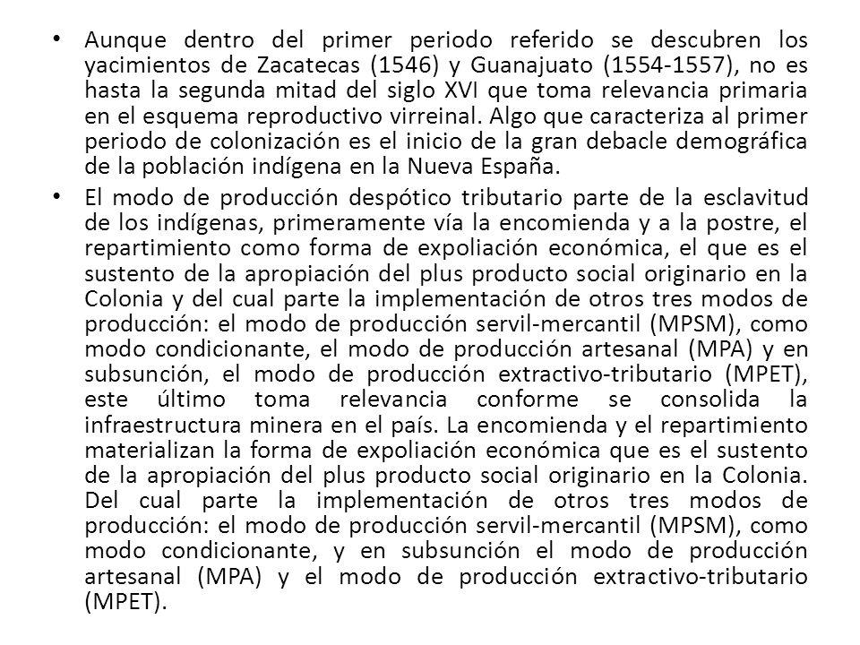 La yuxtaposición de los modos de producción europeos al despótico tributario indígena define la conformación social de los primeros tiempos novohispanos.