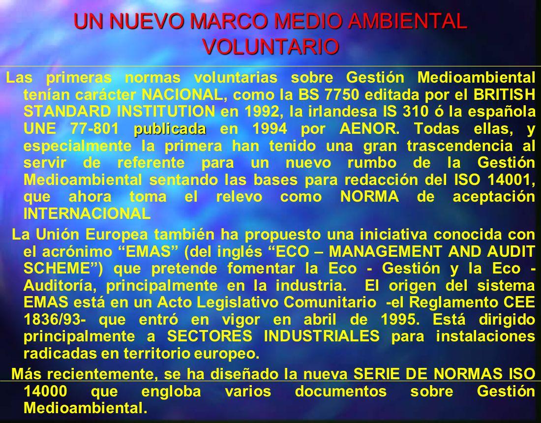 UN NUEVO MARCO MEDIO AMBIENTAL VOLUNTARIO publicada Las primeras normas voluntarias sobre Gestión Medioambiental tenían carácter NACIONAL, como la BS
