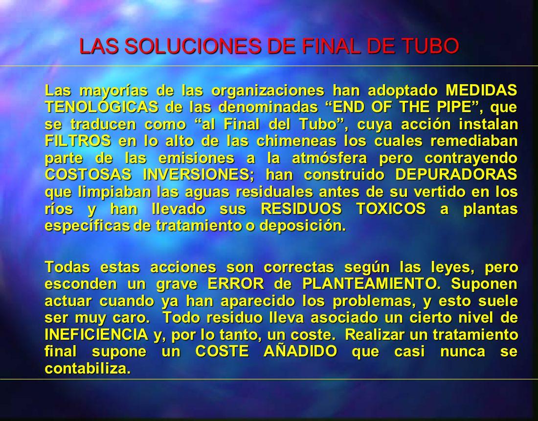 LAS SOLUCIONES DE FINAL DE TUBO Las mayorías de las organizaciones han adoptado MEDIDAS TENOLÓGICAS de las denominadas END OF THE PIPE, que se traduce