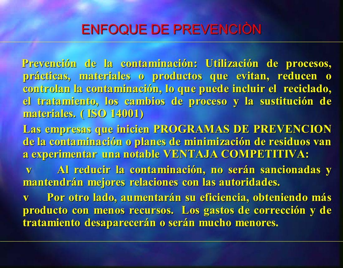 ENFOQUE DE PREVENCIÒN Prevención de la contaminación: Utilización de procesos, prácticas, materiales o productos que evitan, reducen o controlan la co