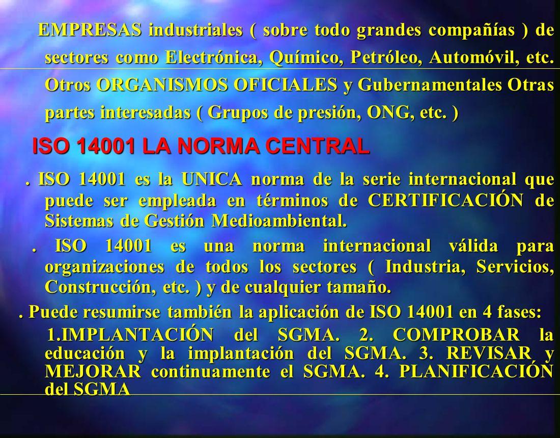 EMPRESAS industriales ( sobre todo grandes compañías ) de sectores como Electrónica, Químico, Petróleo, Automóvil, etc. Otros ORGANISMOS OFICIALES y G