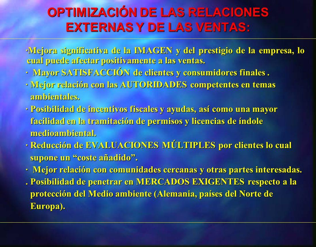 OPTIMIZACIÓN DE LAS RELACIONES EXTERNAS Y DE LAS VENTAS: ·Mejora significativa de la IMAGEN y del prestigio de la empresa, lo cual puede afectar posit
