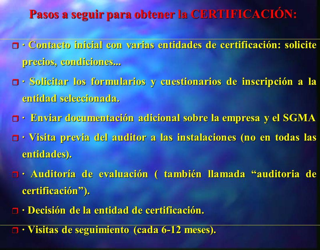 r · Contacto inicial con varias entidades de certificación: solicite precios, condiciones... r · Solicitar los formularios y cuestionarios de inscripc