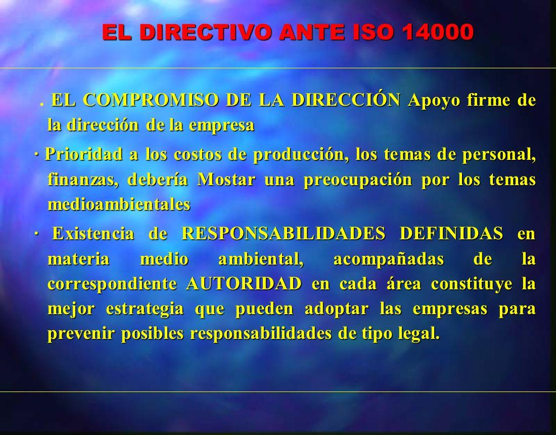 EL DIRECTIVO ANTE ISO 14000 EL DIRECTIVO ANTE ISO 14000 EL COMPROMISO DE LA DIRECCIÓN Apoyo firme de la dirección de la empresa. EL COMPROMISO DE LA D