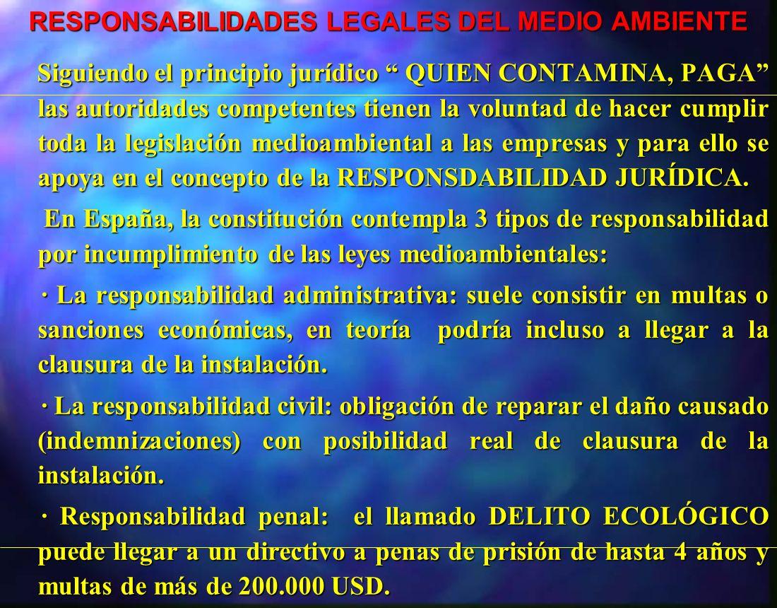 RESPONSABILIDADES LEGALES DEL MEDIO AMBIENTE RESPONSABILIDADES LEGALES DEL MEDIO AMBIENTE Siguiendo el principio jurídico QUIEN CONTAMINA, PAGA las au