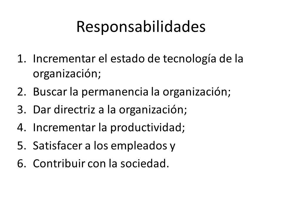 Responsabilidades 1.Incrementar el estado de tecnología de la organización; 2.Buscar la permanencia la organización; 3.Dar directriz a la organización