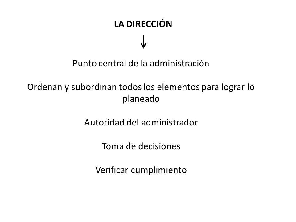 Punto central de la administración Ordenan y subordinan todos los elementos para lograr lo planeado Autoridad del administrador Toma de decisiones Ver
