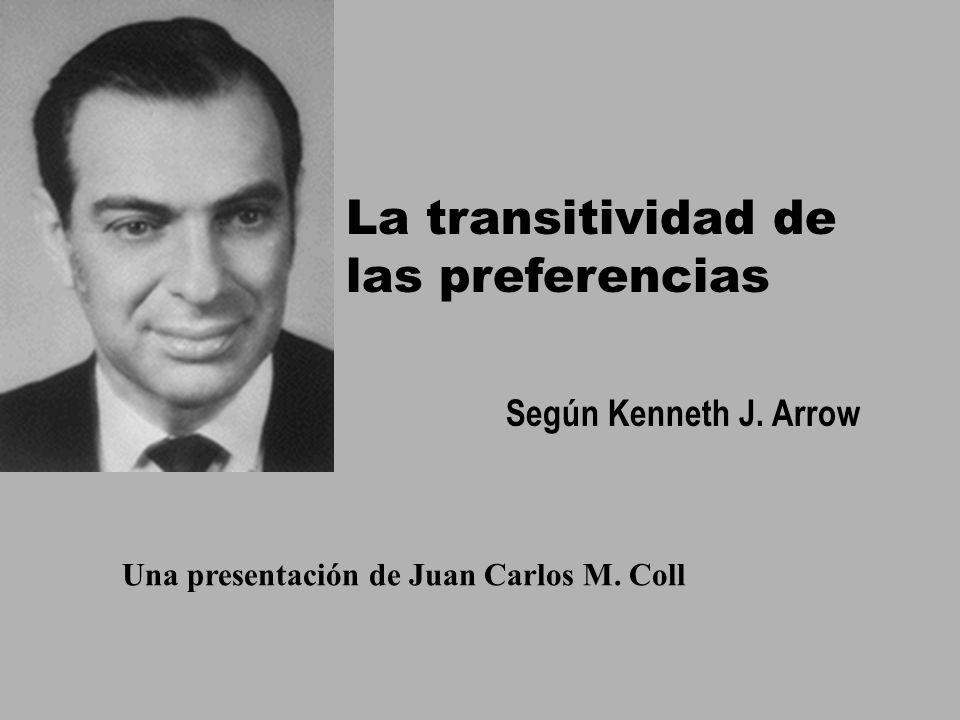 http://www.eumed.net/puertas/ La transitividad de las preferencias Según Kenneth J. Arrow Una presentación de Juan Carlos M. Coll