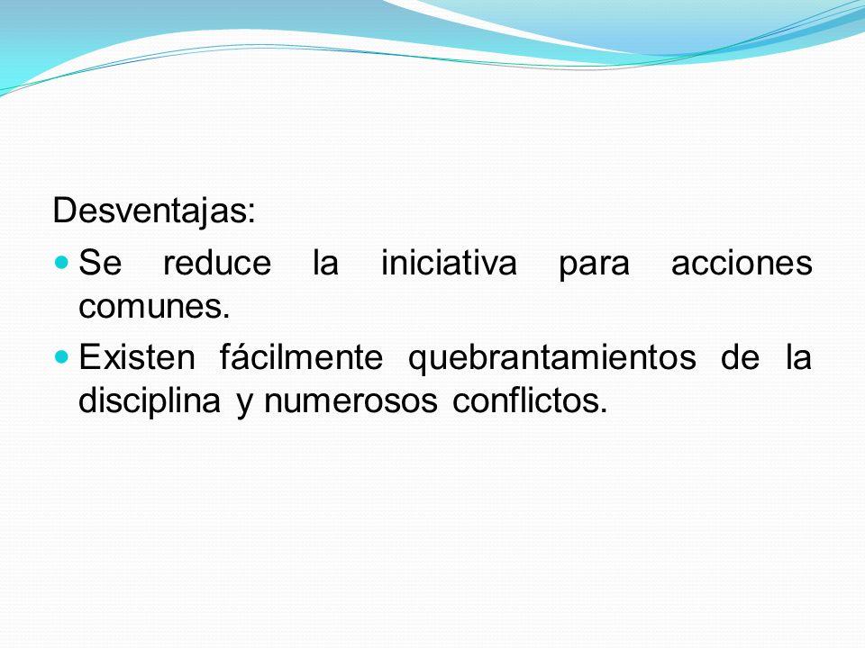 Desventajas: Se reduce la iniciativa para acciones comunes. Existen fácilmente quebrantamientos de la disciplina y numerosos conflictos.