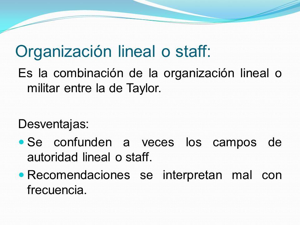 Organización lineal o staff: Es la combinación de la organización lineal o militar entre la de Taylor. Desventajas: Se confunden a veces los campos de