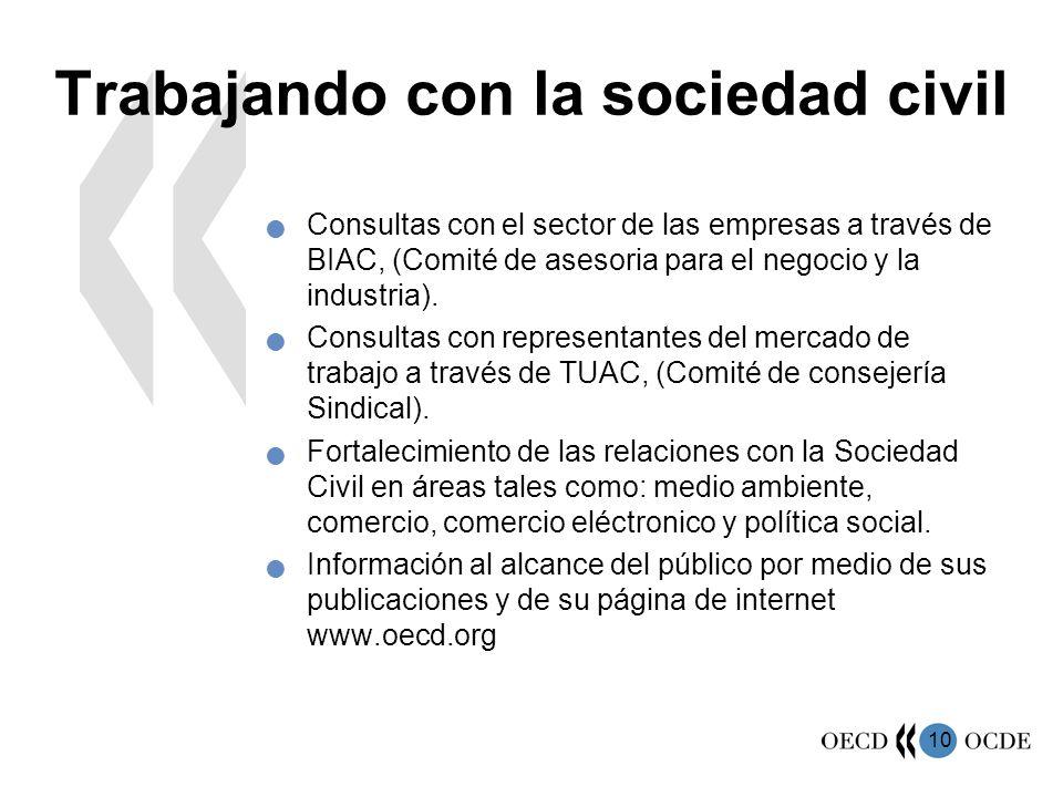 10 Trabajando con la sociedad civil Consultas con el sector de las empresas a través de BIAC, (Comité de asesoria para el negocio y la industria). Con