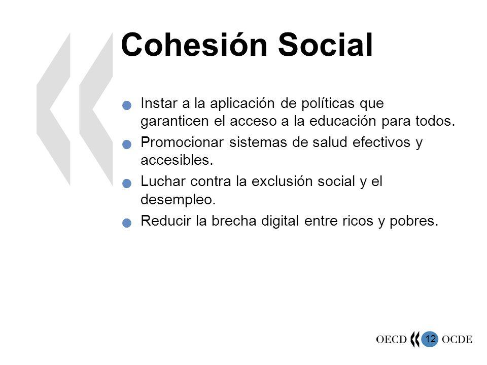 12 Cohesión Social Instar a la aplicación de políticas que garanticen el acceso a la educación para todos. Promocionar sistemas de salud efectivos y a