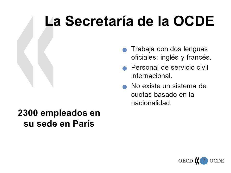 7 La Secretaría de la OCDE 2300 empleados en su sede en París Trabaja con dos lenguas oficiales: inglés y francés. Personal de servicio civil internac