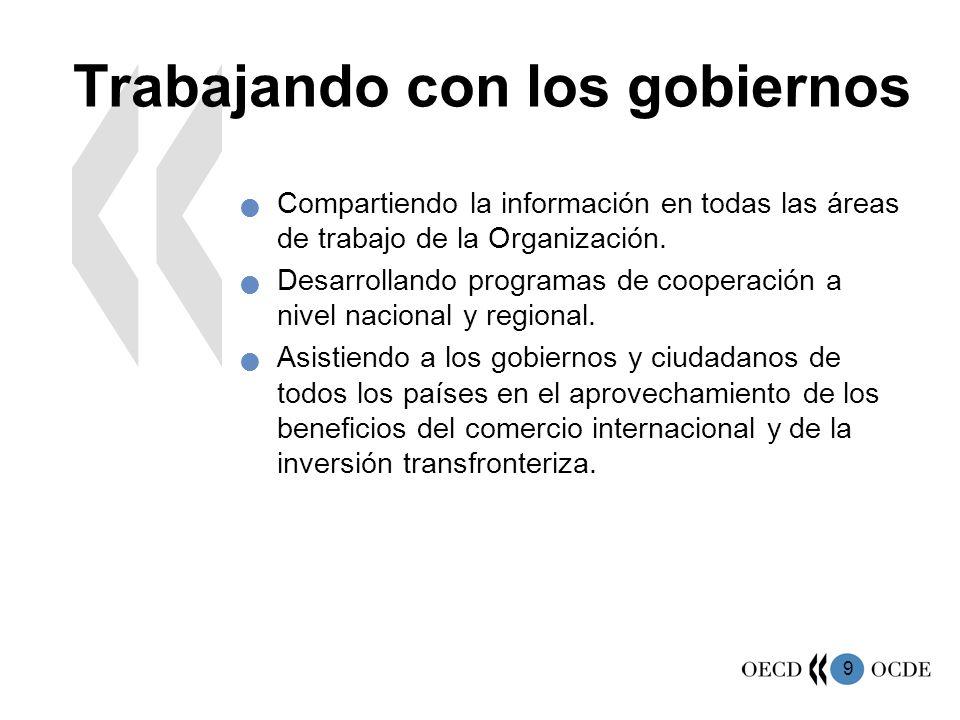 9 Trabajando con los gobiernos Compartiendo la información en todas las áreas de trabajo de la Organización. Desarrollando programas de cooperación a