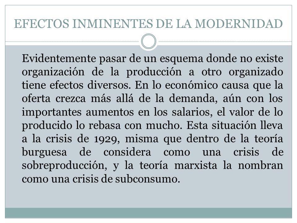 EFECTOS INMINENTES DE LA MODERNIDAD Evidentemente pasar de un esquema donde no existe organización de la producción a otro organizado tiene efectos di
