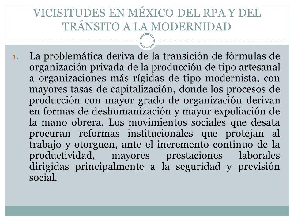 VICISITUDES EN MÉXICO DEL RPA Y DEL TRÁNSITO A LA MODERNIDAD 1. La problemática deriva de la transición de fórmulas de organización privada de la prod