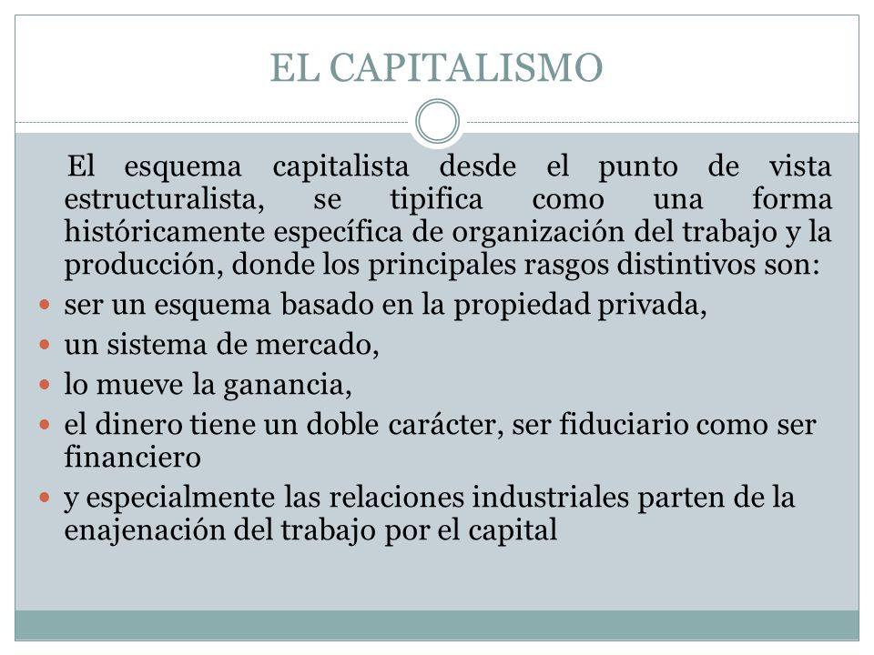 EL CAPITALISMO El esquema capitalista desde el punto de vista estructuralista, se tipifica como una forma históricamente específica de organización de