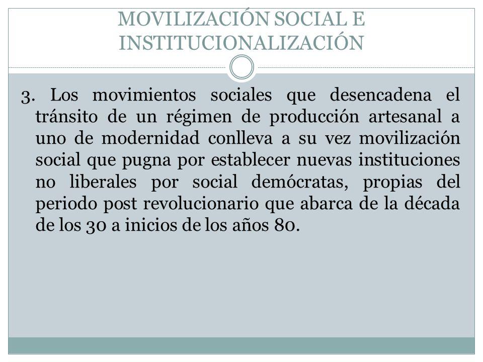 MOVILIZACIÓN SOCIAL E INSTITUCIONALIZACIÓN 3. Los movimientos sociales que desencadena el tránsito de un régimen de producción artesanal a uno de mode