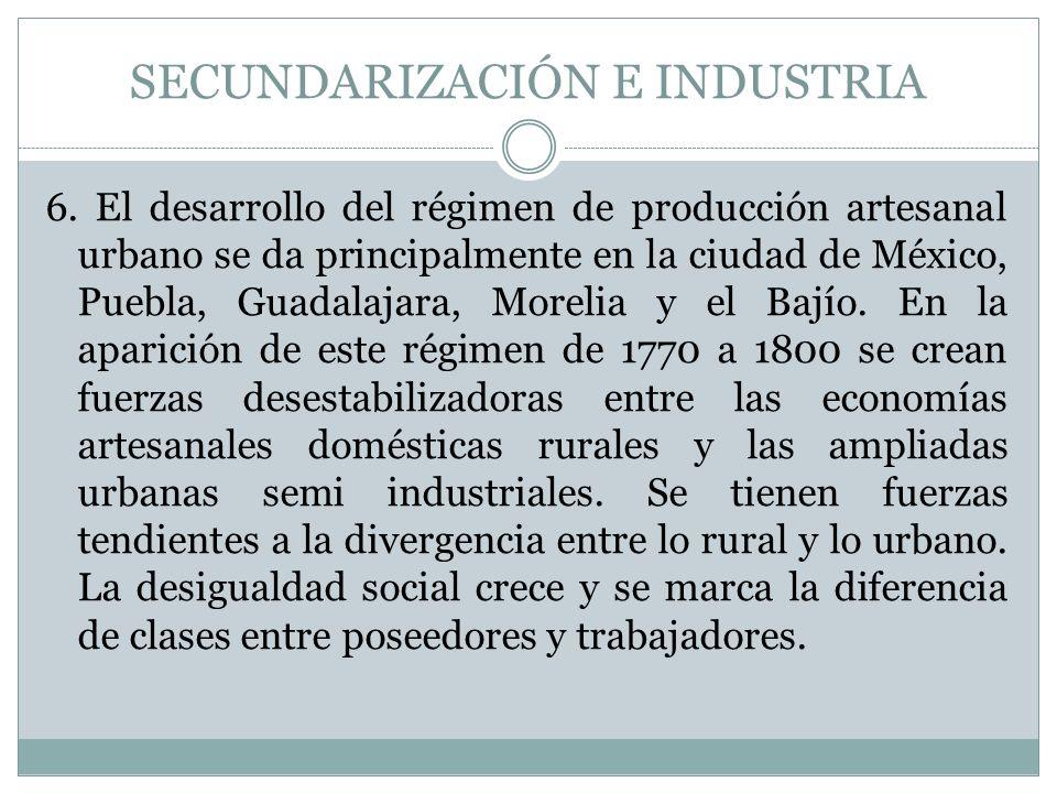 SECUNDARIZACIÓN E INDUSTRIA 6. El desarrollo del régimen de producción artesanal urbano se da principalmente en la ciudad de México, Puebla, Guadalaja