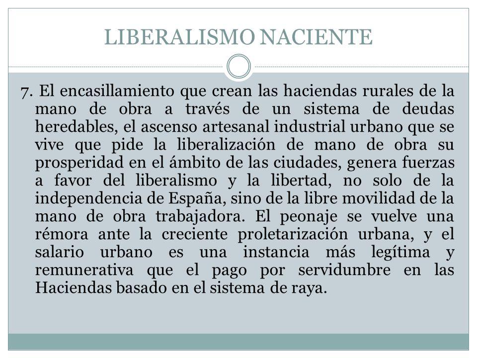 LIBERALISMO NACIENTE 7. El encasillamiento que crean las haciendas rurales de la mano de obra a través de un sistema de deudas heredables, el ascenso