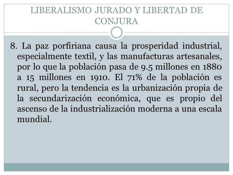 LIBERALISMO JURADO Y LIBERTAD DE CONJURA 8. La paz porfiriana causa la prosperidad industrial, especialmente textil, y las manufacturas artesanales, p