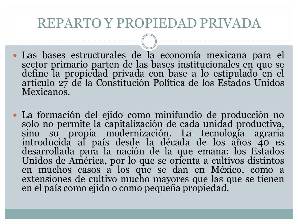 REPARTO Y PROPIEDAD PRIVADA Las bases estructurales de la economía mexicana para el sector primario parten de las bases institucionales en que se defi