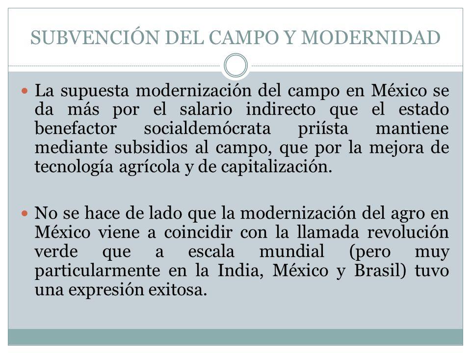 SUBVENCIÓN DEL CAMPO Y MODERNIDAD La supuesta modernización del campo en México se da más por el salario indirecto que el estado benefactor socialdemó
