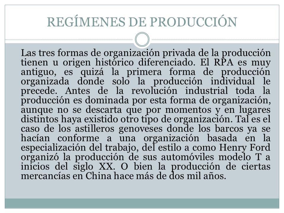 REGÍMENES DE PRODUCCIÓN Las tres formas de organización privada de la producción tienen u origen histórico diferenciado. El RPA es muy antiguo, es qui