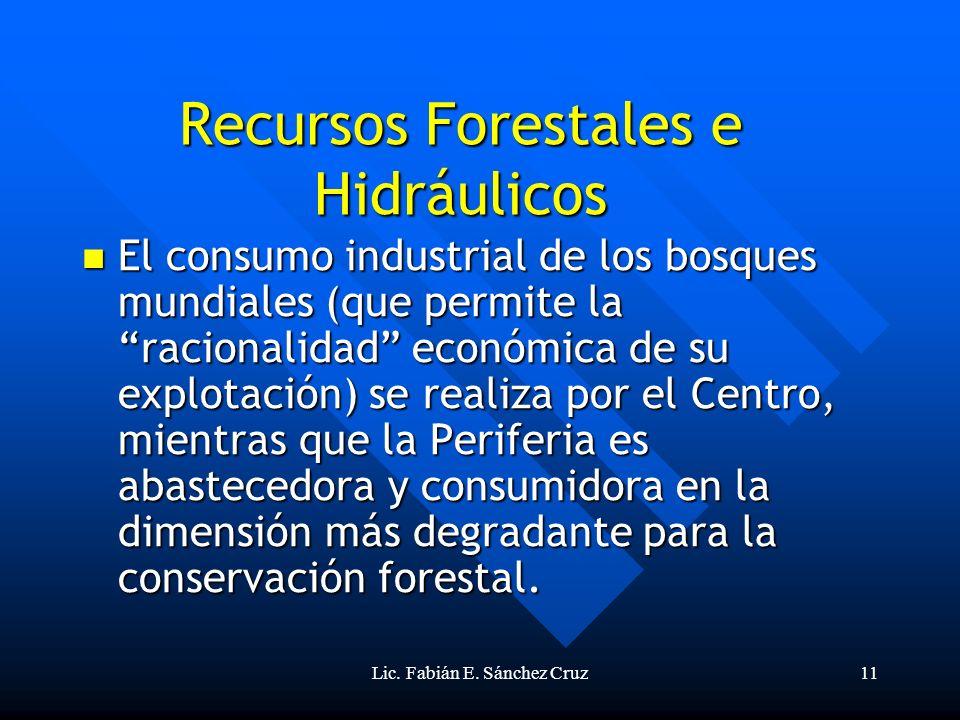 Lic. Fabián E. Sánchez Cruz11 Recursos Forestales e Hidráulicos El consumo industrial de los bosques mundiales (que permite la racionalidad económica