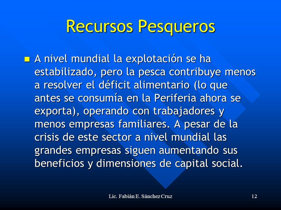 Lic. Fabián E. Sánchez Cruz12 Recursos Pesqueros A nivel mundial la explotación se ha estabilizado, pero la pesca contribuye menos a resolver el défic