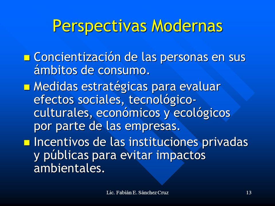 Lic. Fabián E. Sánchez Cruz13 Perspectivas Modernas Concientización de las personas en sus ámbitos de consumo. Concientización de las personas en sus