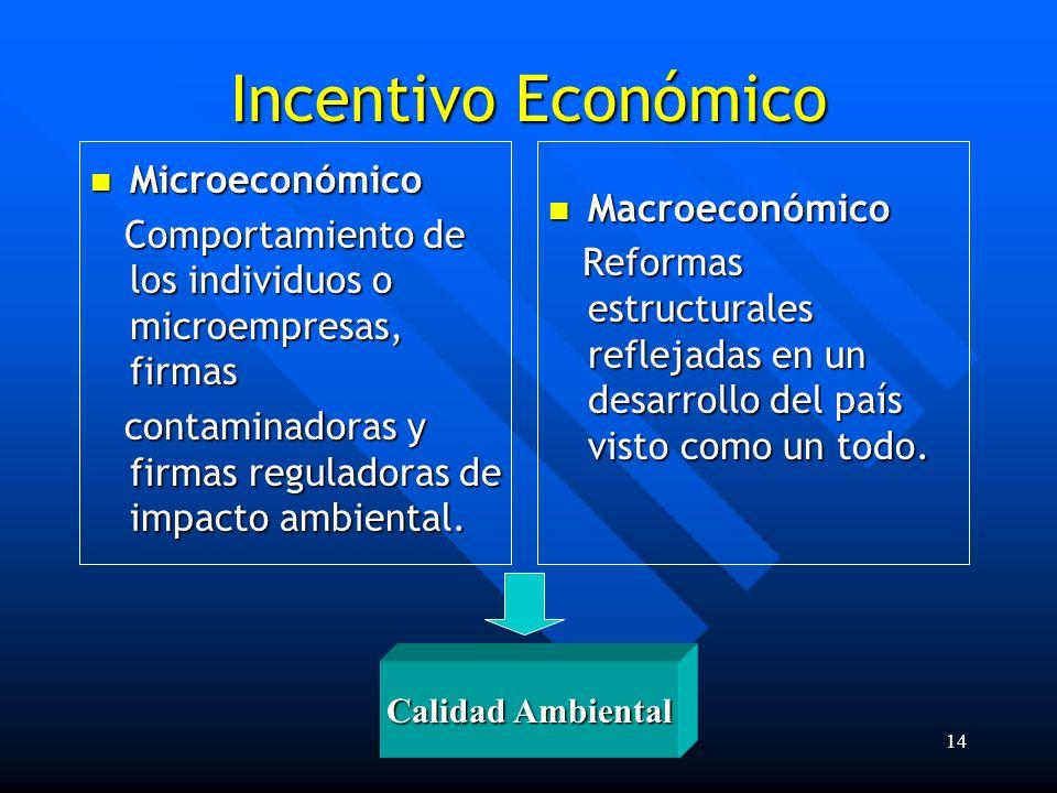 Lic. Fabián E. Sánchez Cruz14 Incentivo Económico Microeconómico Microeconómico Comportamiento de los individuos o microempresas, firmas Comportamient