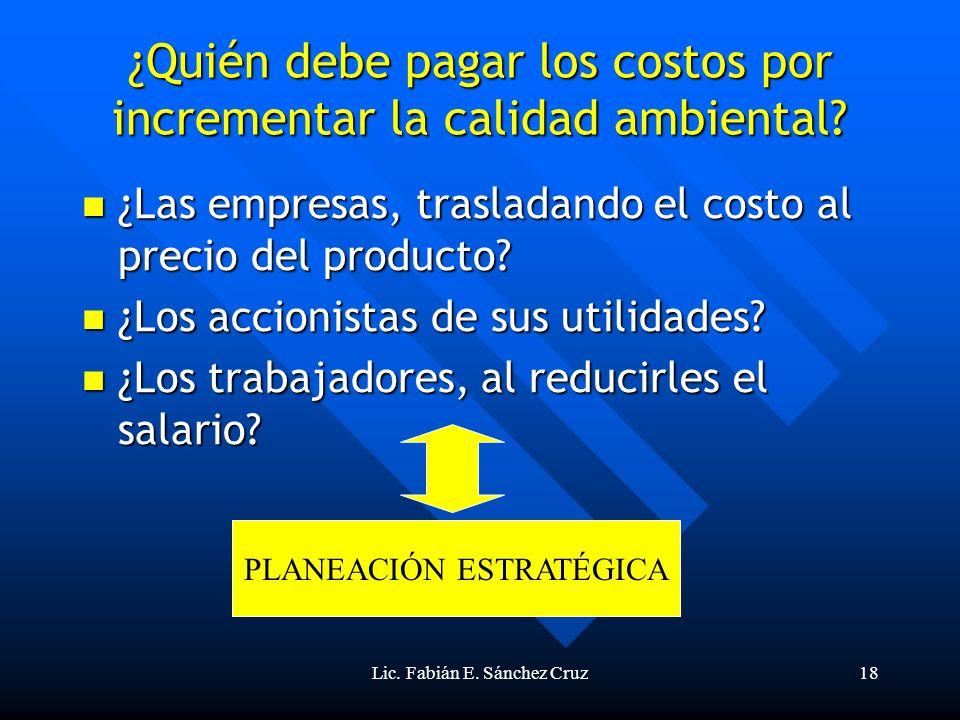 Lic. Fabián E. Sánchez Cruz18 ¿Quién debe pagar los costos por incrementar la calidad ambiental? ¿Las empresas, trasladando el costo al precio del pro