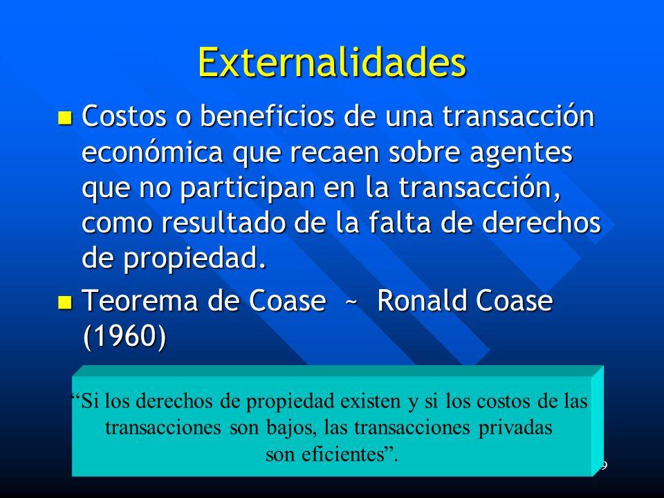 Lic. Fabián E. Sánchez Cruz19 Si los derechos de propiedad existen y si los costos de las transacciones son bajos, las transacciones privadas son efic