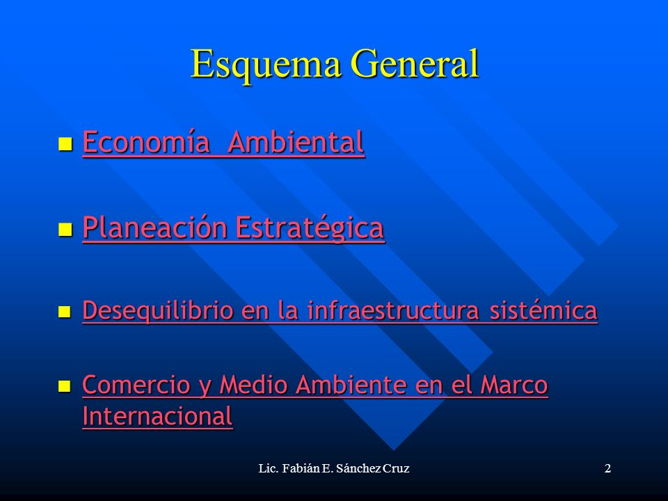 Lic. Fabián E. Sánchez Cruz2 Esquema General Economía Ambiental Economía Ambiental Economía Ambiental Economía Ambiental Planeación Estratégica Planea