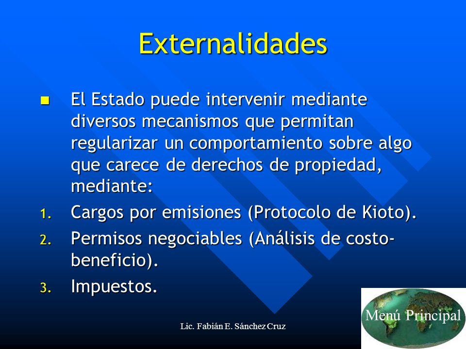 Lic. Fabián E. Sánchez Cruz20 Externalidades El Estado puede intervenir mediante diversos mecanismos que permitan regularizar un comportamiento sobre