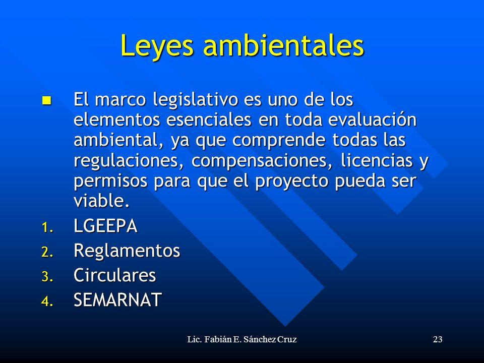 Lic. Fabián E. Sánchez Cruz23 Leyes ambientales El marco legislativo es uno de los elementos esenciales en toda evaluación ambiental, ya que comprende