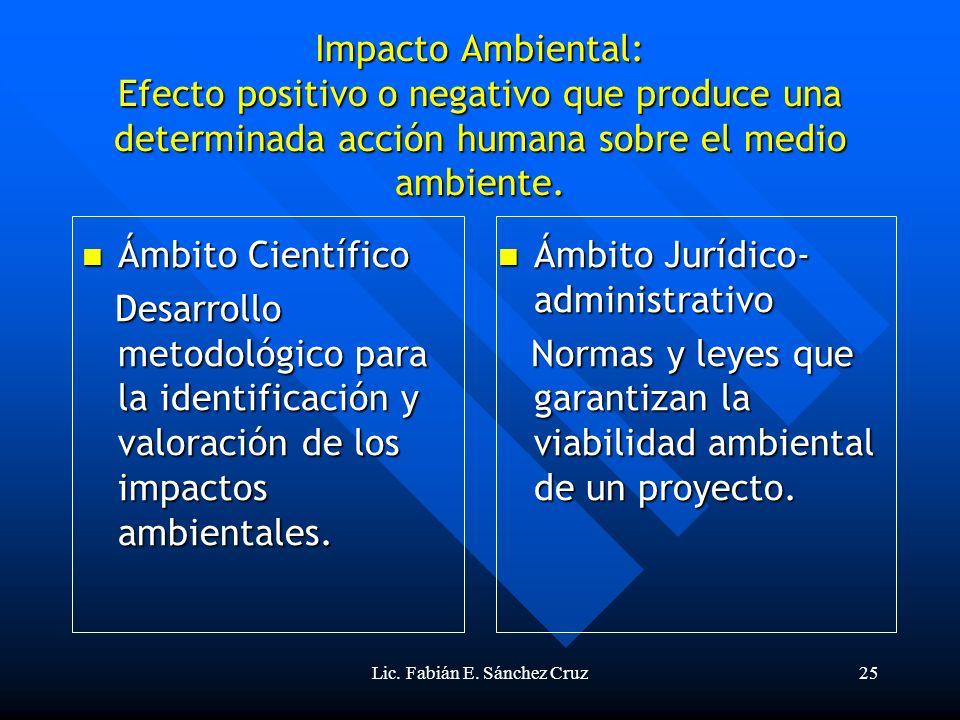 Lic. Fabián E. Sánchez Cruz25 Impacto Ambiental: Efecto positivo o negativo que produce una determinada acción humana sobre el medio ambiente. Ámbito