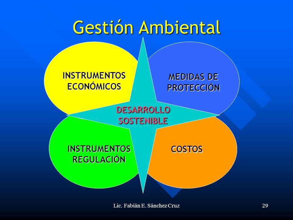 Lic. Fabián E. Sánchez Cruz29 INSTRUMENTOS REGULACIÓN INSTRUMENTOS ECONÓMICOS MEDIDAS DE PROTECCIÓN Gestión Ambiental COSTOS DESARROLLO SOSTENIBLE