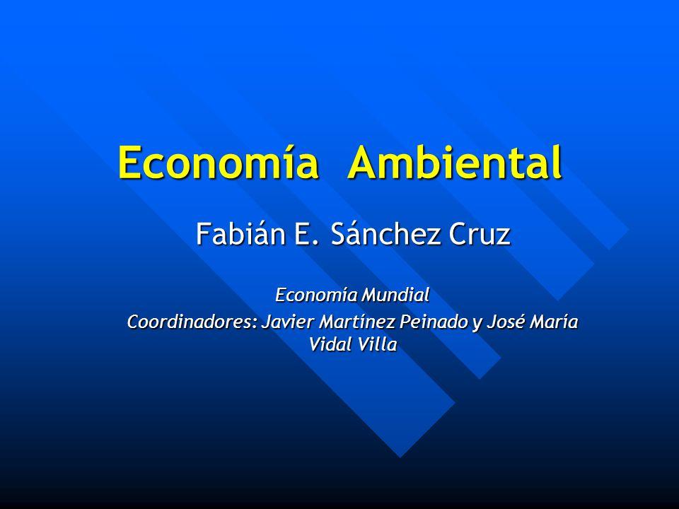 Economía Ambiental Fabián E. Sánchez Cruz Economía Mundial Coordinadores: Javier Martínez Peinado y José María Vidal Villa