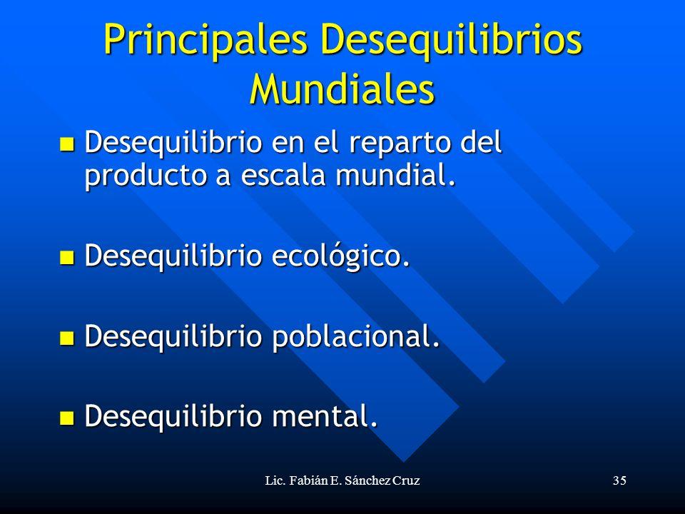 Lic. Fabián E. Sánchez Cruz35 Principales Desequilibrios Mundiales Desequilibrio en el reparto del producto a escala mundial. Desequilibrio en el repa