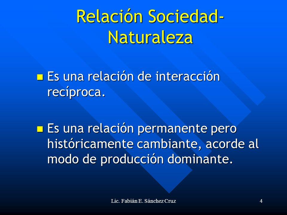 Lic. Fabián E. Sánchez Cruz4 Relación Sociedad- Naturaleza Es una relación de interacción recíproca. Es una relación de interacción recíproca. Es una