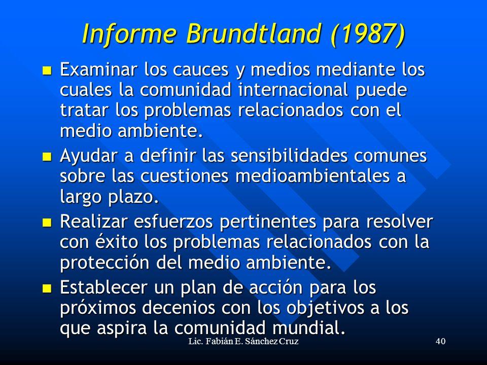 Lic. Fabián E. Sánchez Cruz40 Informe Brundtland (1987) Examinar los cauces y medios mediante los cuales la comunidad internacional puede tratar los p
